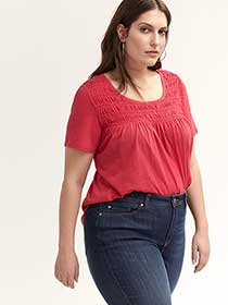 Short Sleeve Top with Smocking Detail - d/C JEANS