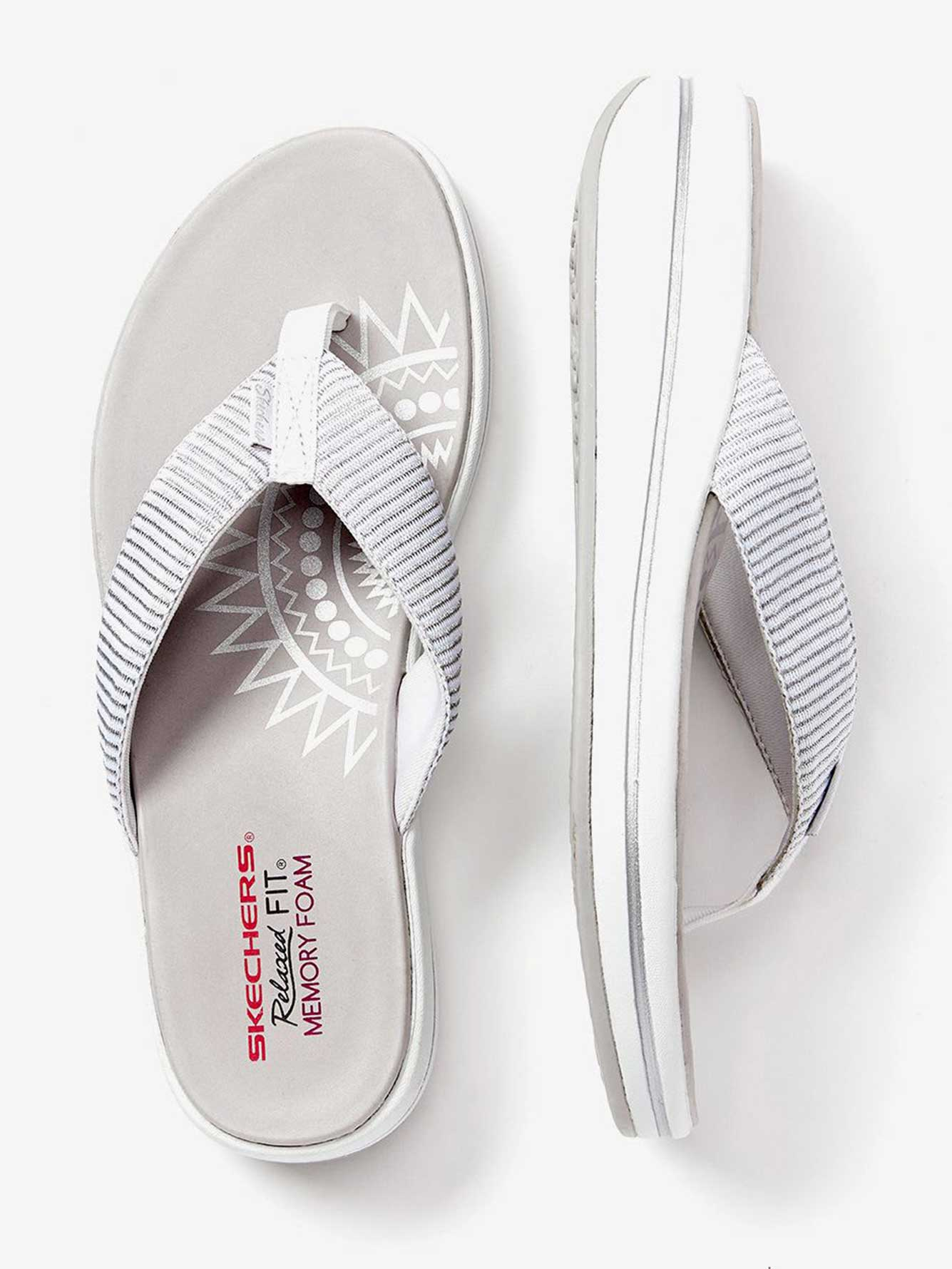 ONLINE ONLY - Wide Width Stripped Thong Sandals - Skechers ... d6f57ca78