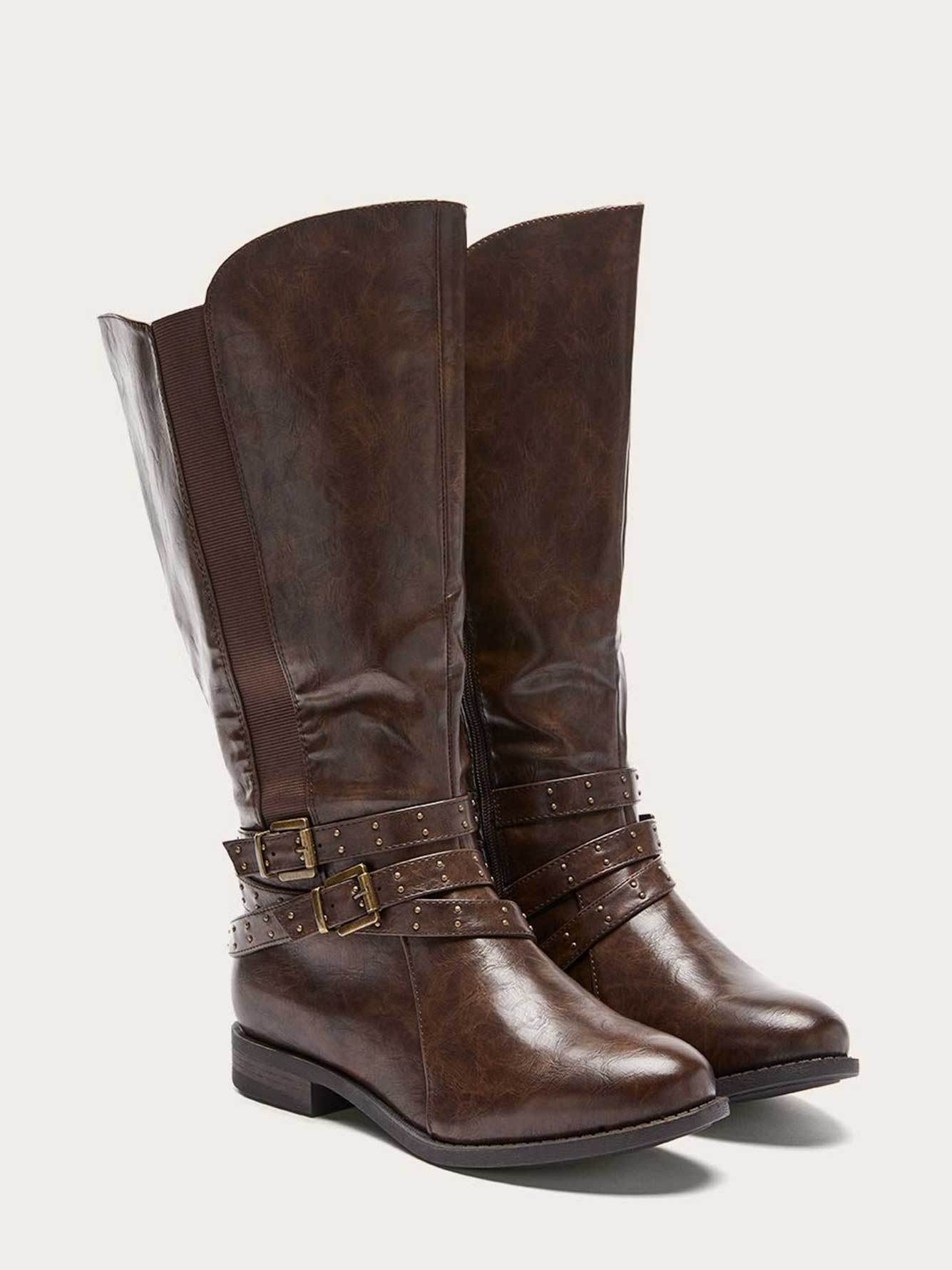 be6b70367759 Extra Wide Calf Tall Boots with Buckles and Studs   Penningtons