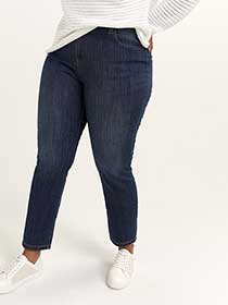Slightly Curvy Fit Straight Leg Jean with Embroidery - d/C JEANS