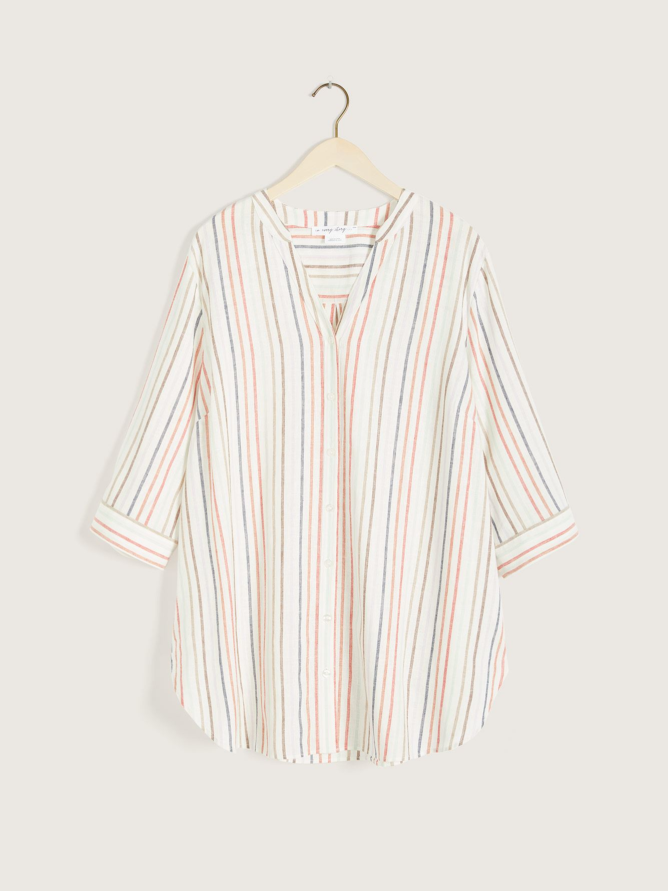 Striped Button-Down 3/4 Sleeve Linen Blouse - In Every Story
