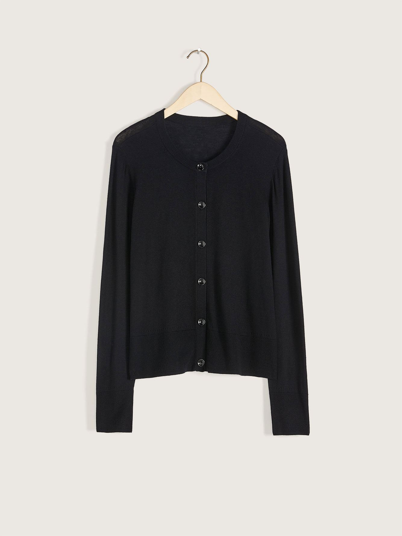Long-Sleeve Button-Down Cardigan - Addition Elle