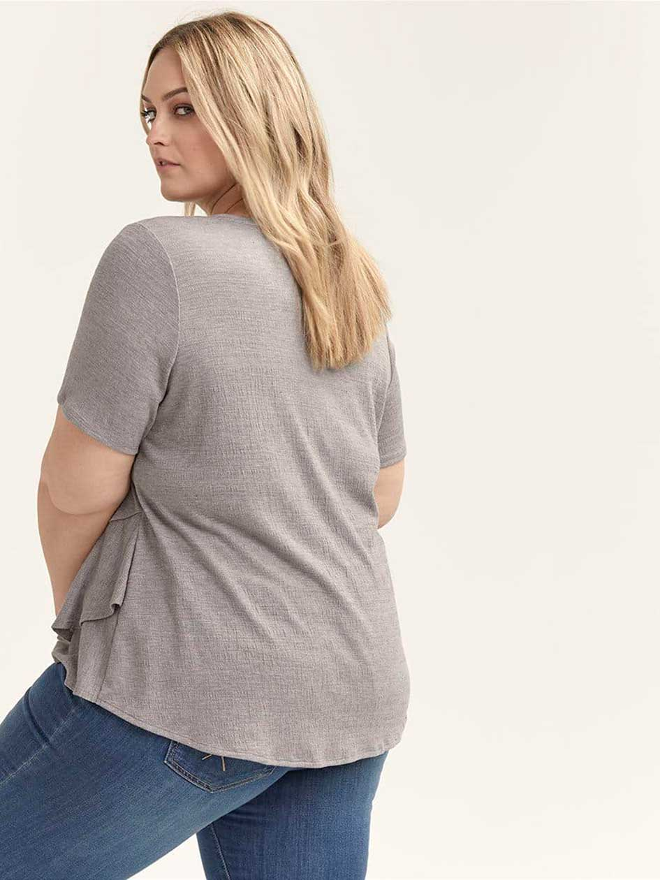 Short Sleeve Top with Asymmetrical Ruffle - d/C JEANS