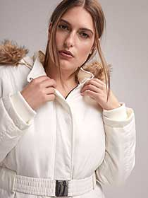 Polyfill Parka with Faux-Fur Hood and Belt - In Every Story