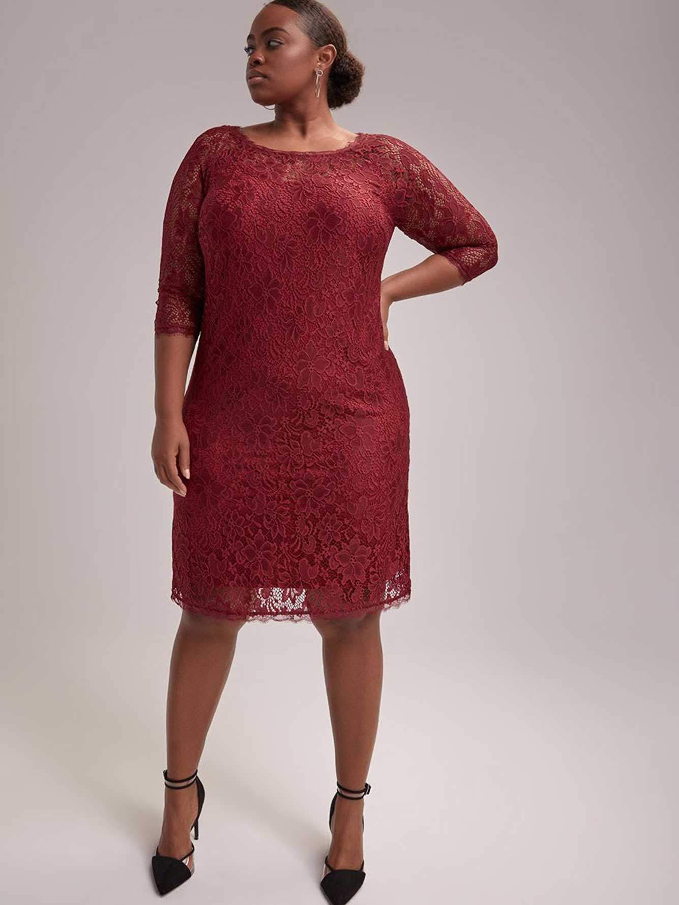 3/4 Sleeve Shift Lace Dress - In Every Story