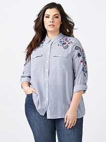 Embroidered Button Up Shirt - d/c JEANS