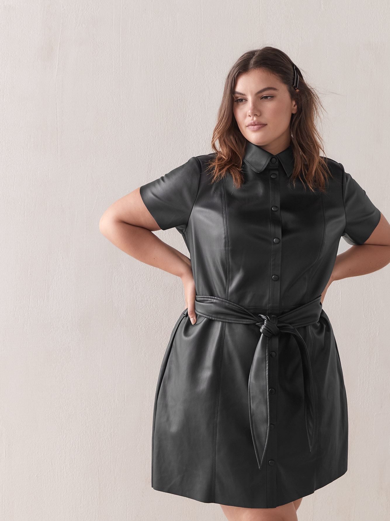 Faux-Leather Short Shirt Dress - Addition Elle