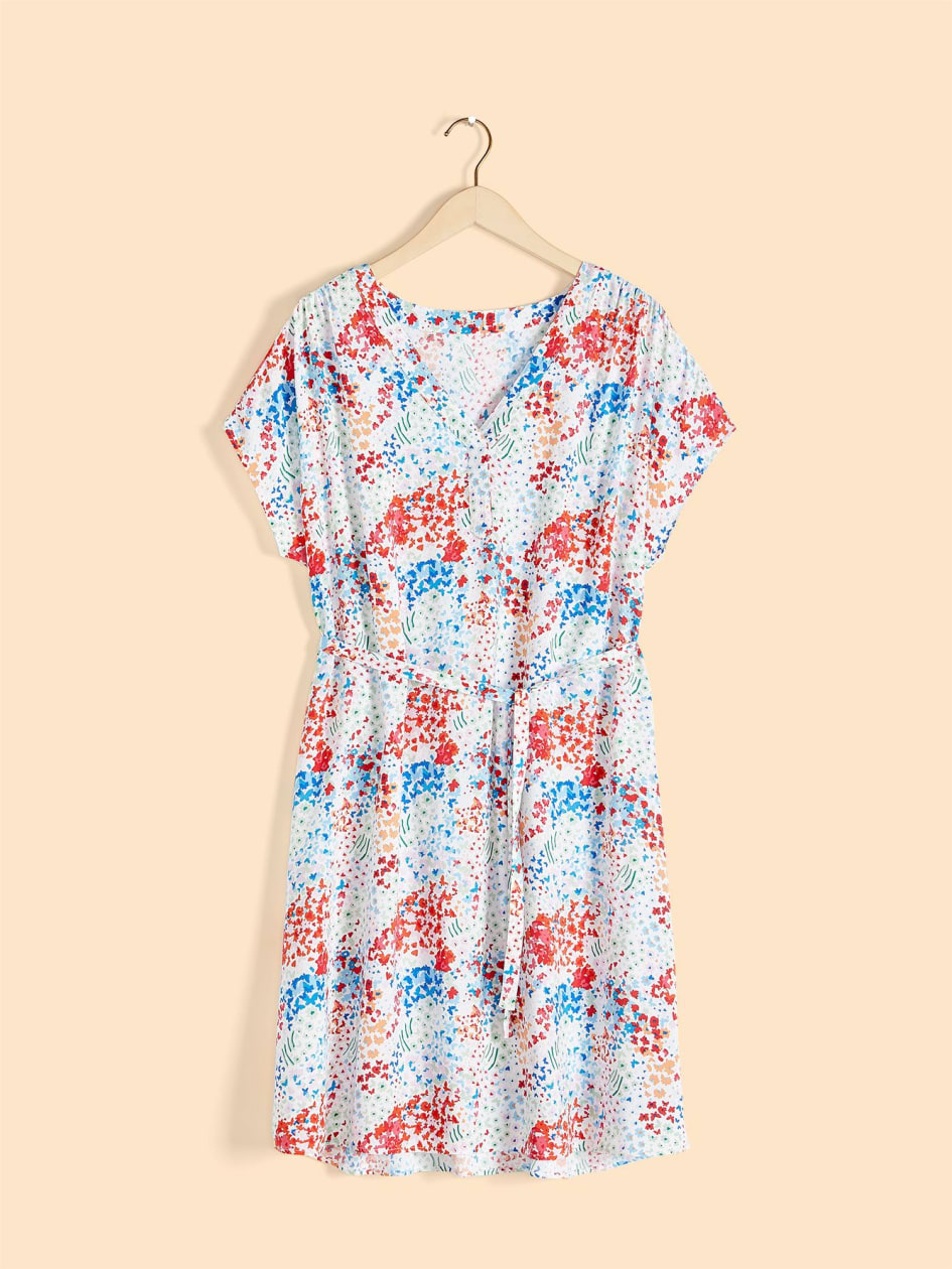 Printed Extended Shoulder Popover Dress - In Every Story