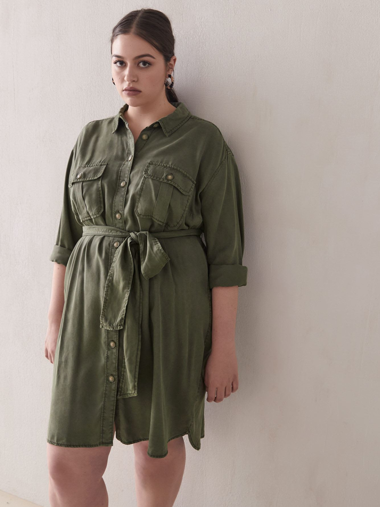 Long-Sleeve Twill Shirt Dress - Addition Elle