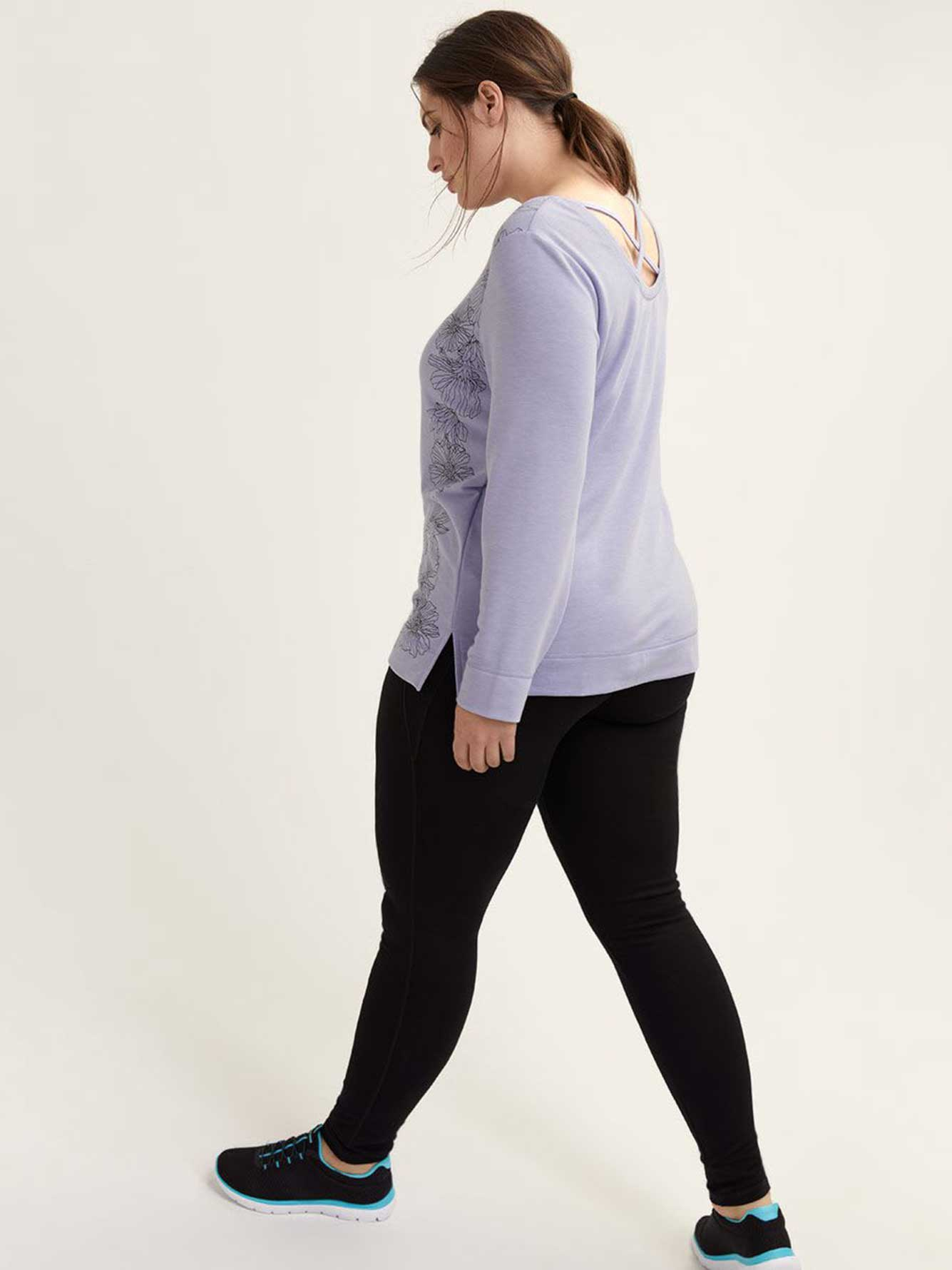 Long Sleeve Pullover with Criss-Cross Detail - ActiveZone
