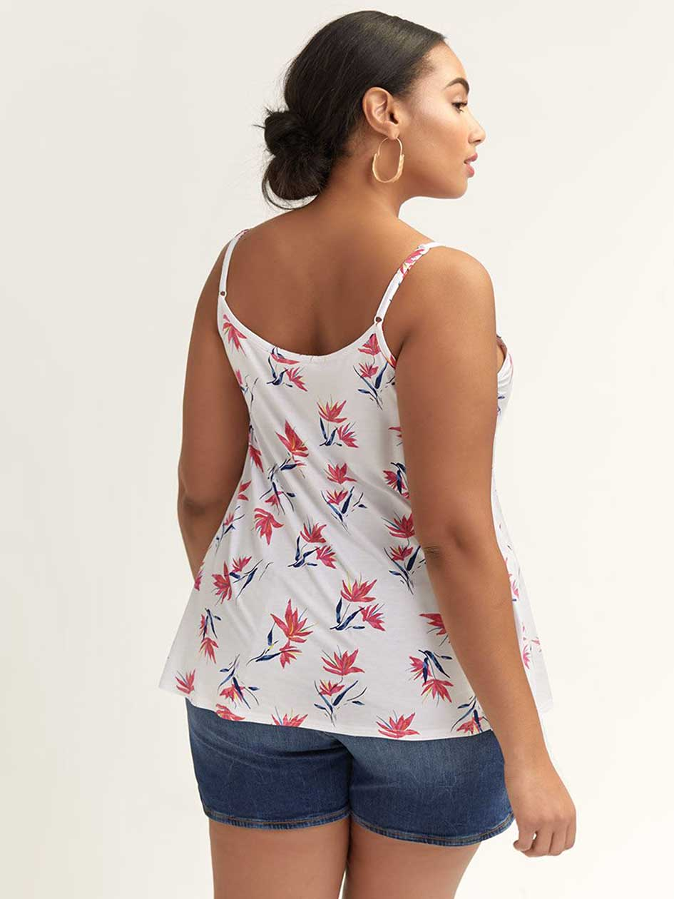 Floral V-Neck Cami with Scalloped Neckline