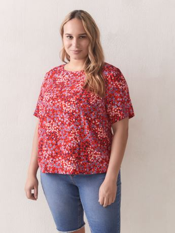 Printed Straight Short Sleeve Blouse - Addition Elle