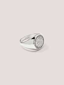 Signet Ring with Rhinestone