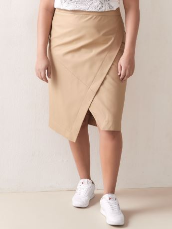 High-Waist Faux-Wrap Skirt - Addition Elle