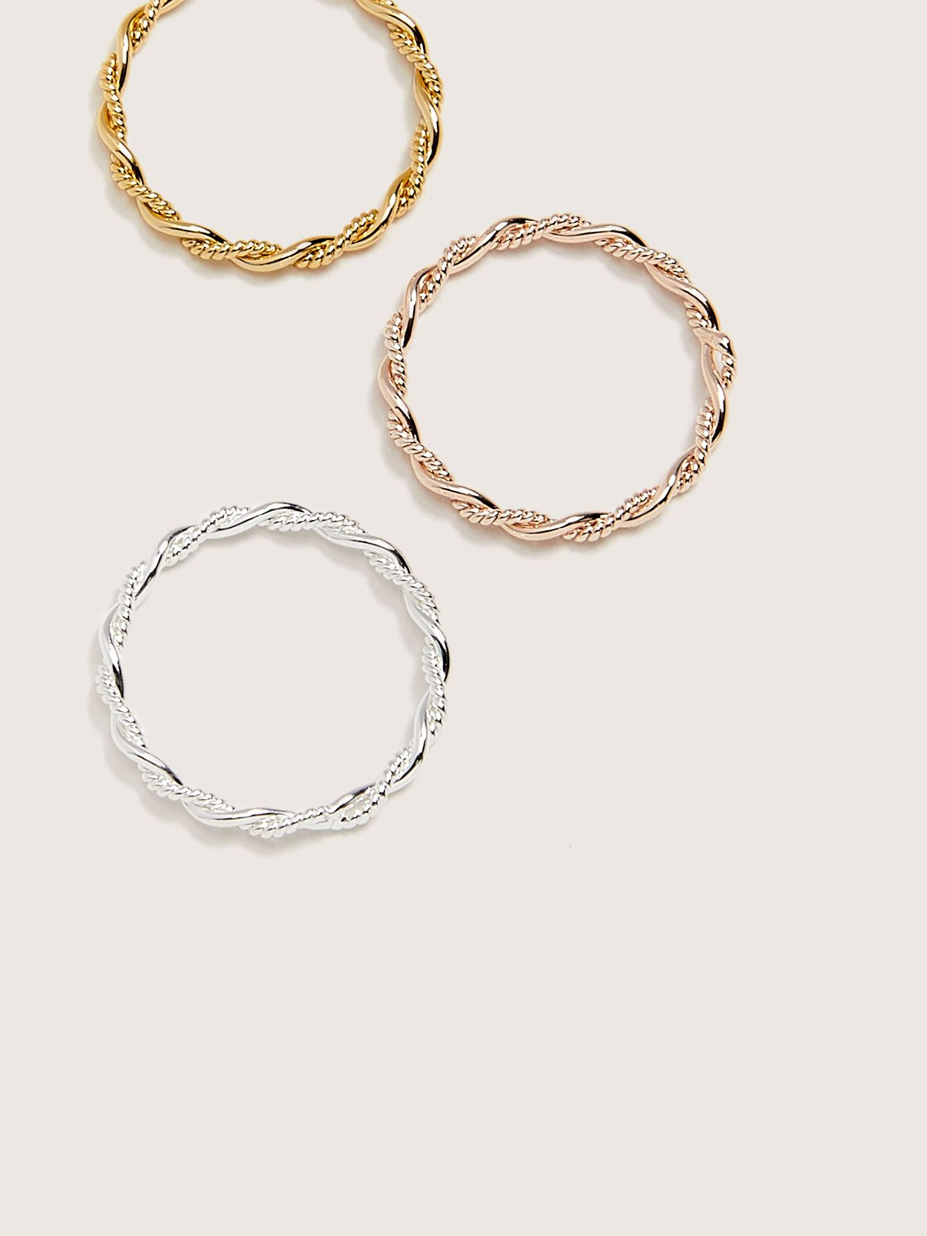 Pack of 3 Plated Twist Rings - Addition Elle