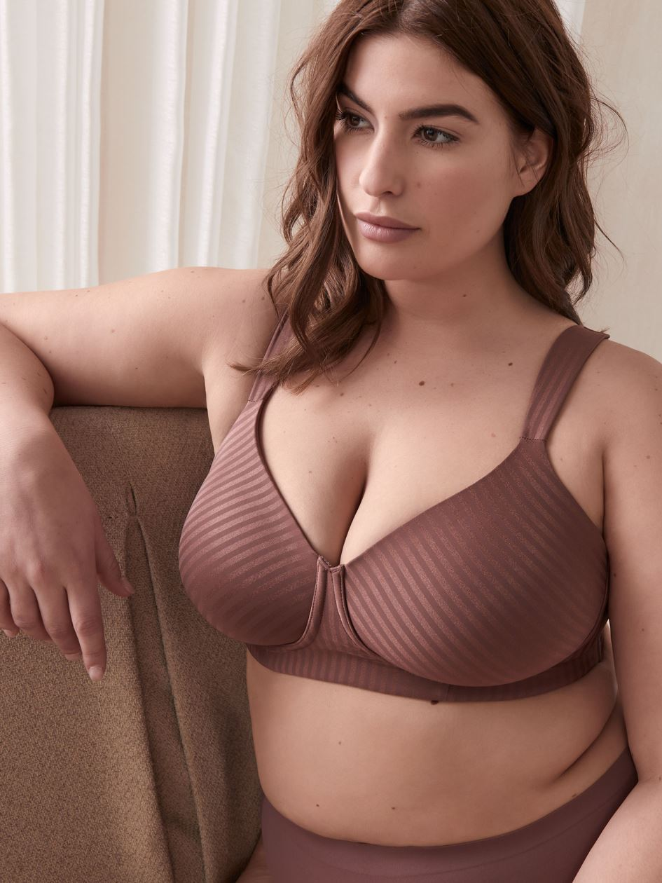 Padded Wireless Striped T-Shirt Bra