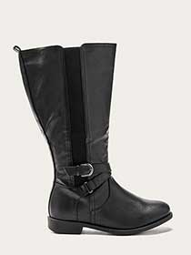 Extra Wide Calf Tall Boots with Buckle