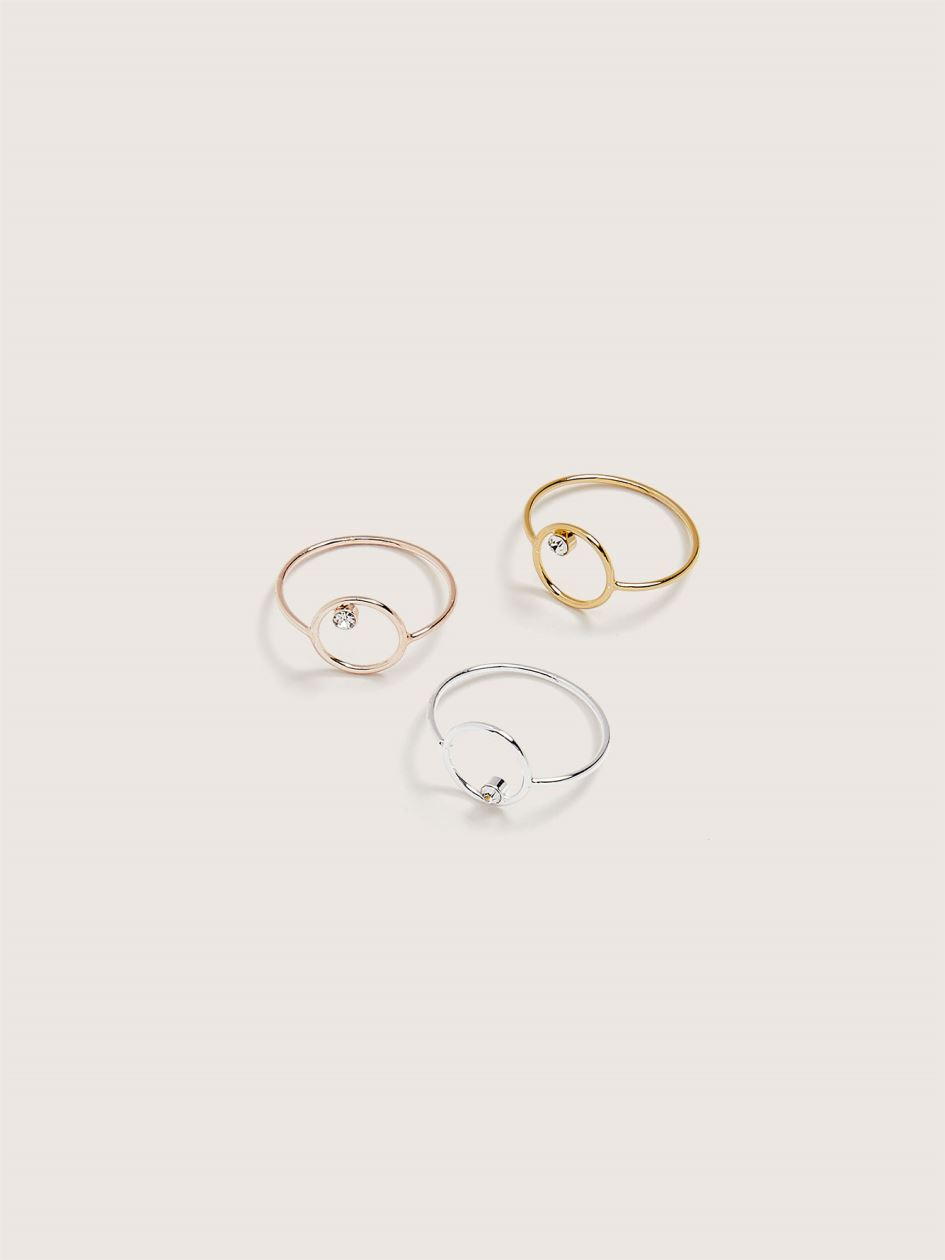 Stackable Rhinestone Rings, 3-Pack - Addition Elle