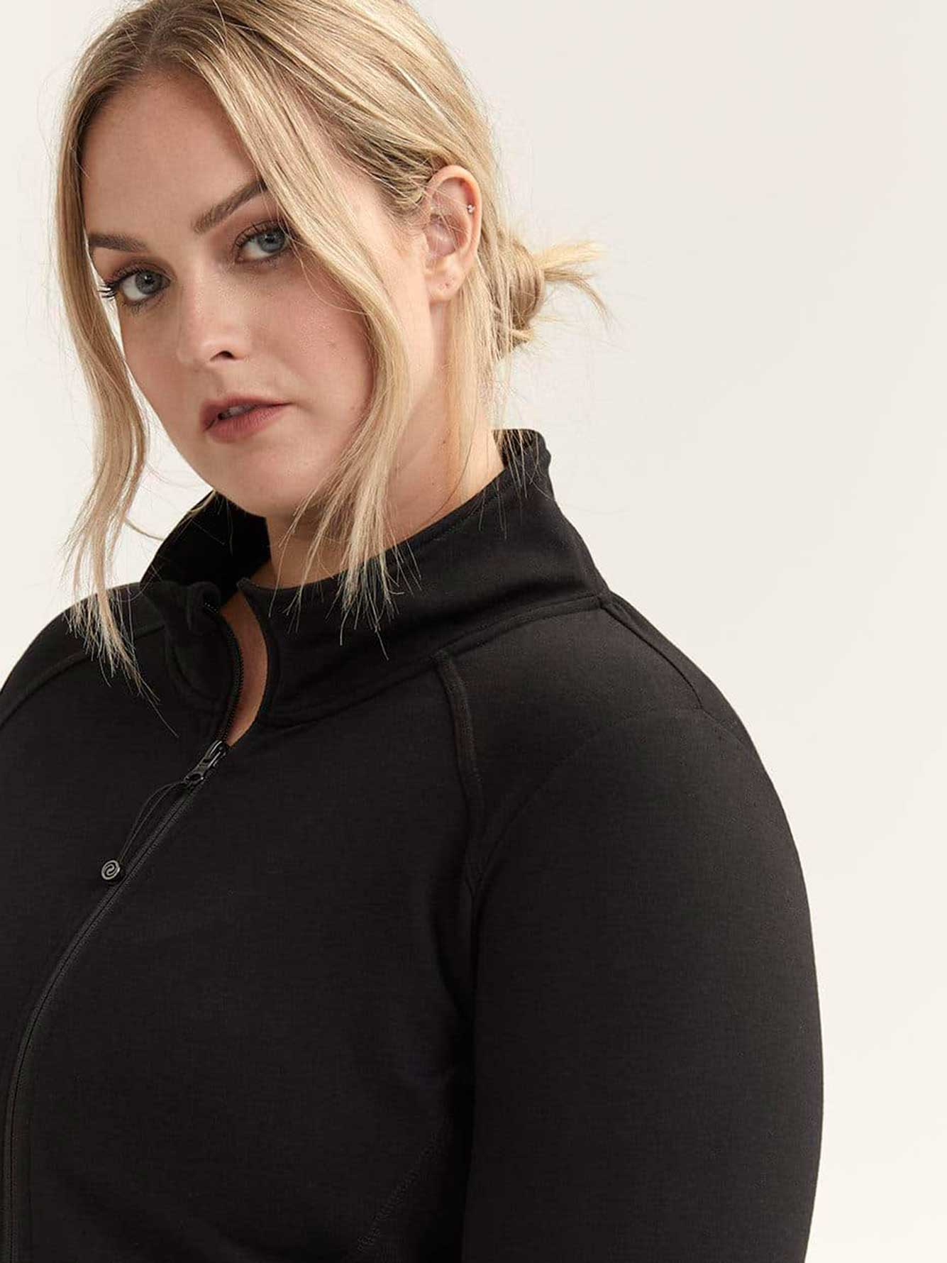 Plus Size Black Jacket with Mock Neck - ActiveZone