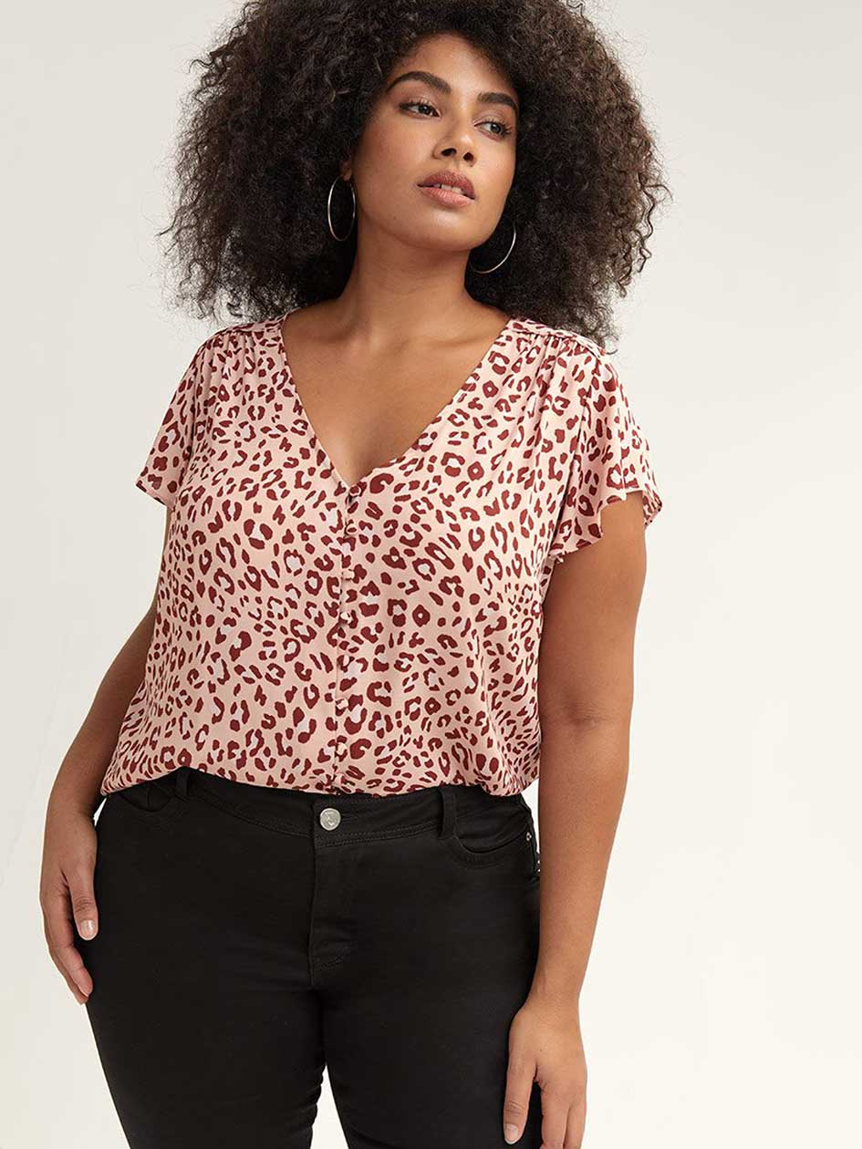deaf6bdac74 V-Neck Blouse with Button Front