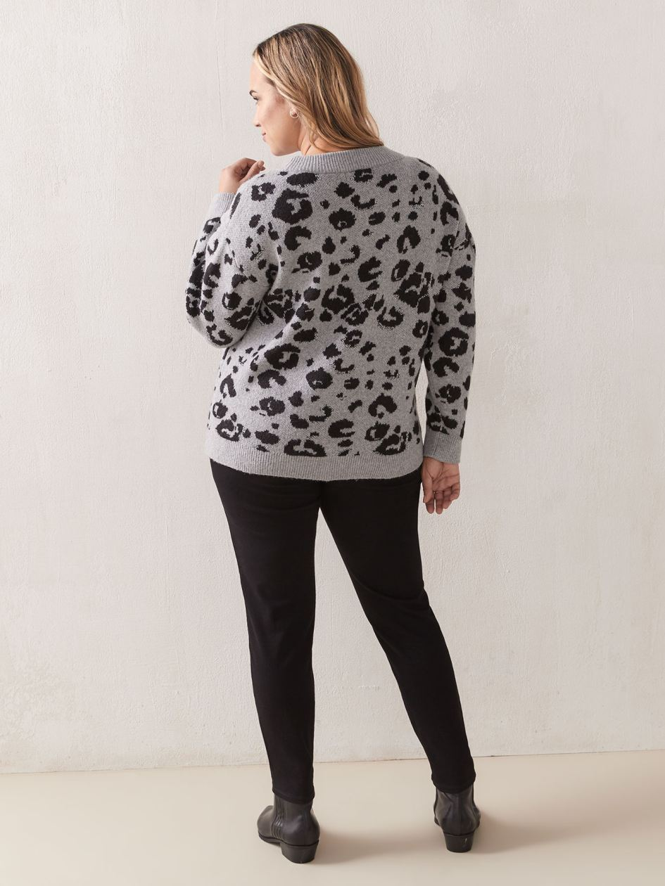 Jacquard Crew-Neck Sweater - Addition Elle
