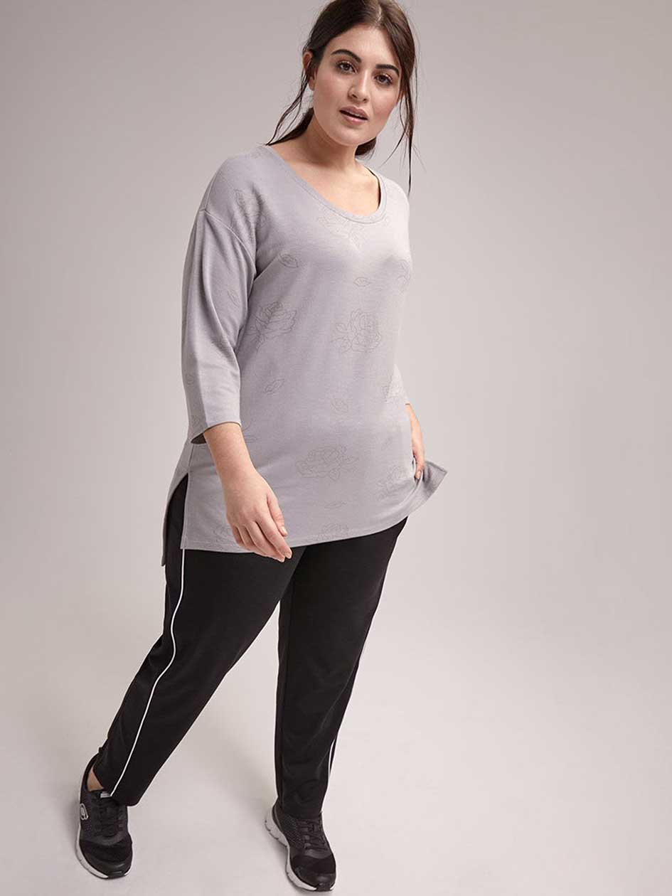 Plus Size Printed 3/4 Sleeve French Terry Top - ActiveZone