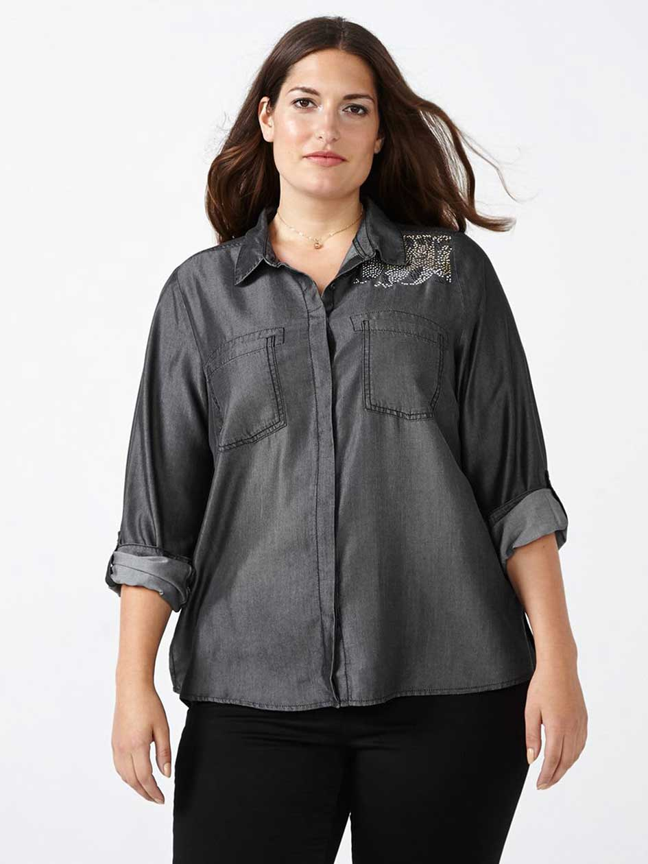 Grey Denim Shirt with Beaded Pattern - d/c JEANS