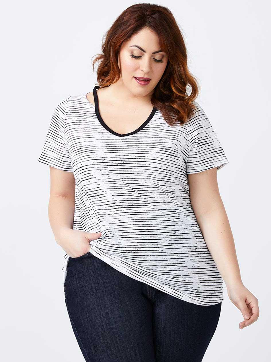 Girlfriend Fit Striped T-Shirt - d/C JEANS