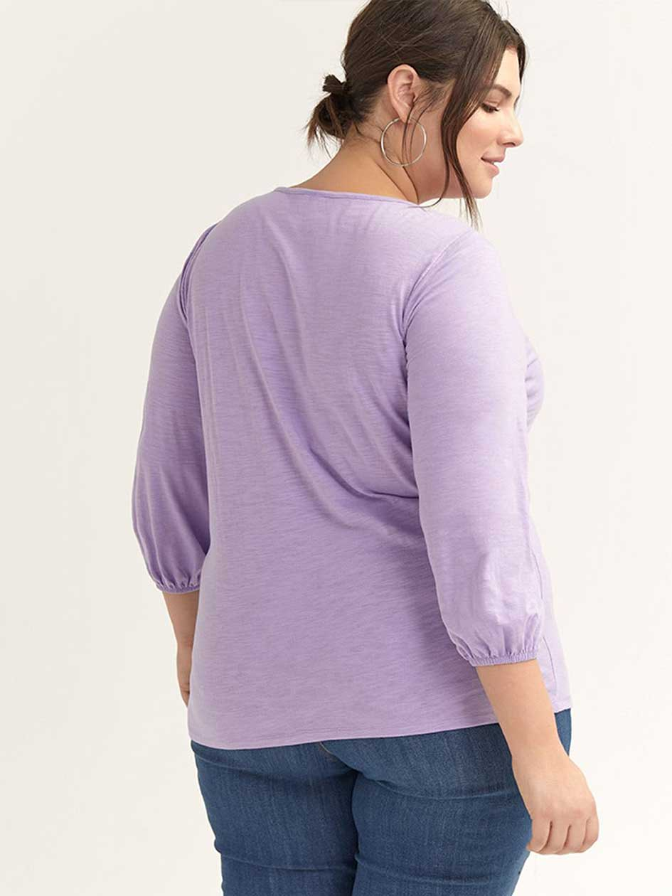 Knit Top with 3/4 Balloon Sleeve