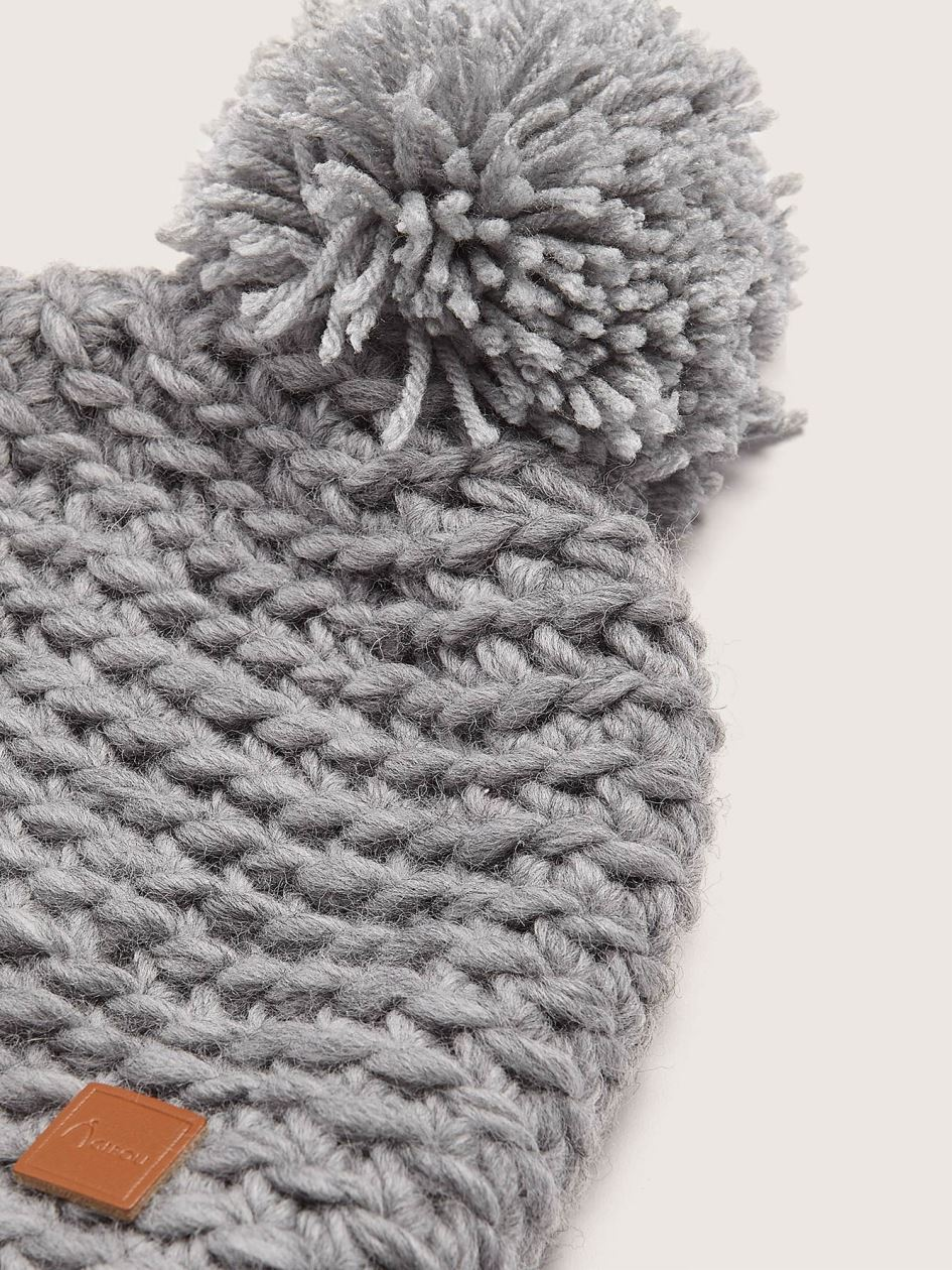 Hand-Knitted Wool Hat with Pompom - Gibou