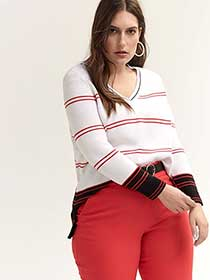 Long Sleeve Cotton Colour Block Sweater - In Every Story