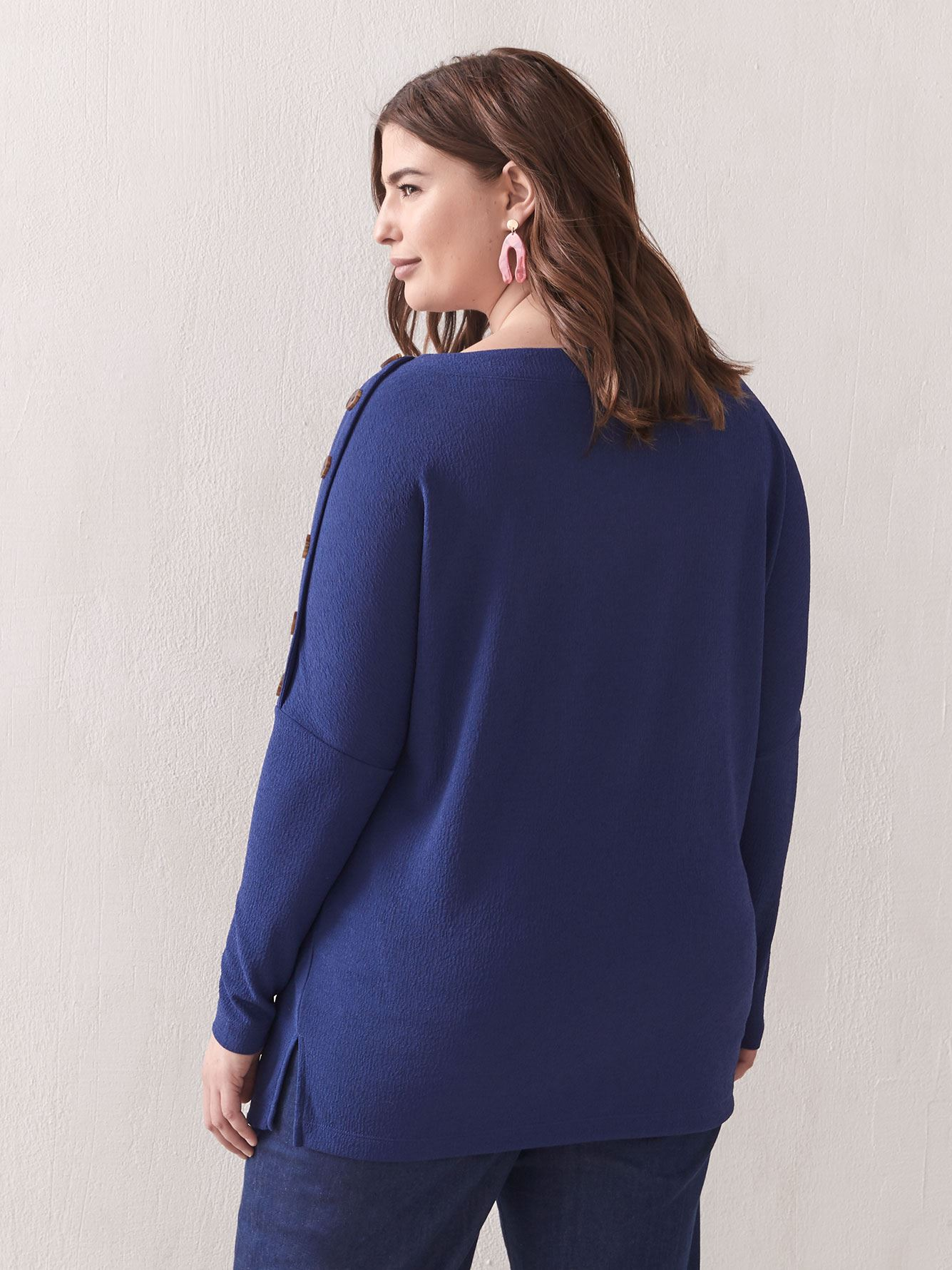 Dolman-Sleeve Button Top - Addition Elle