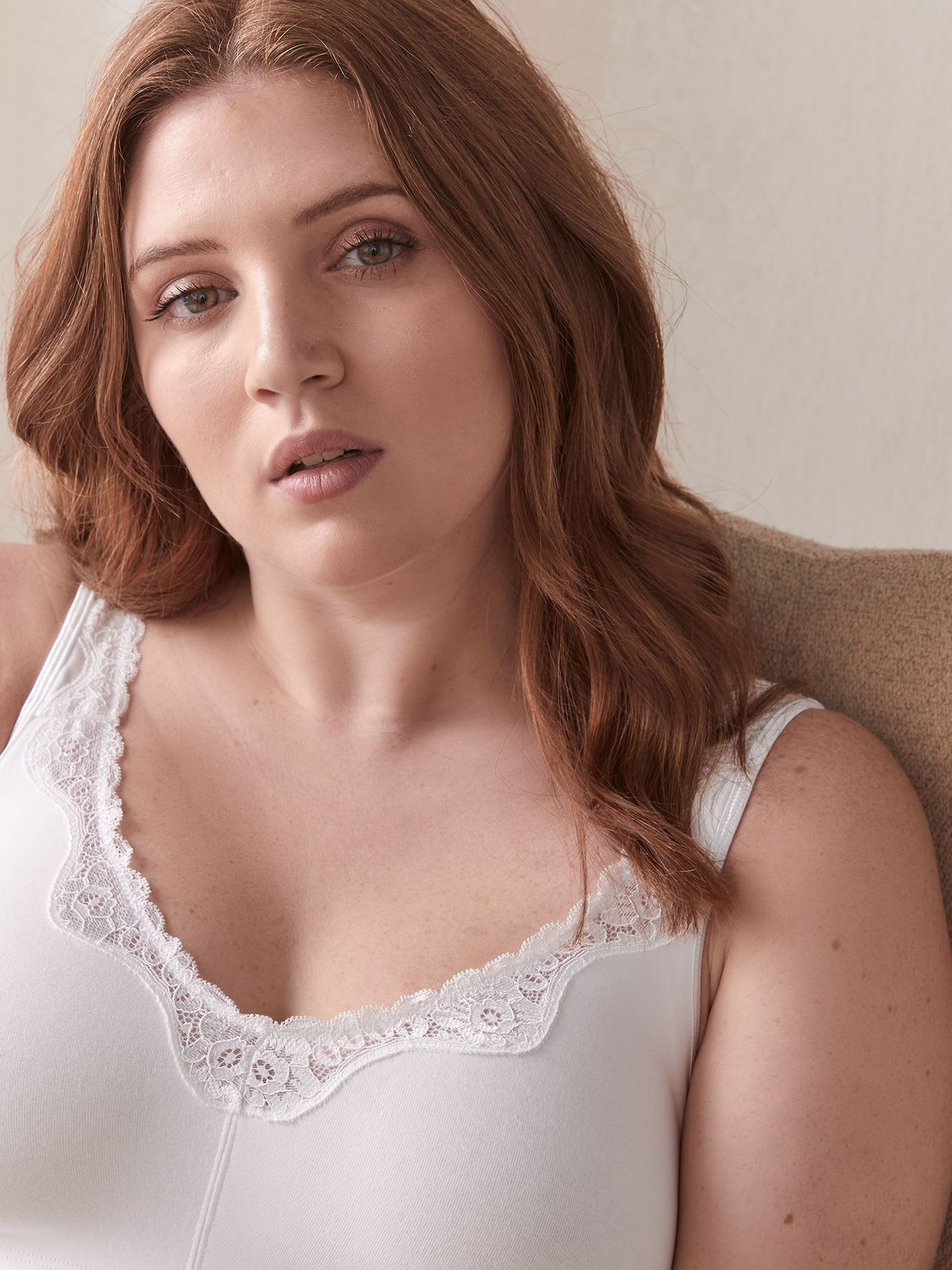 Cotton Wirefree Bra with Lace Trim - ti Voglio