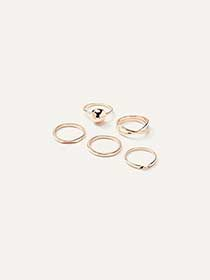 Pack of 5 hammered rings