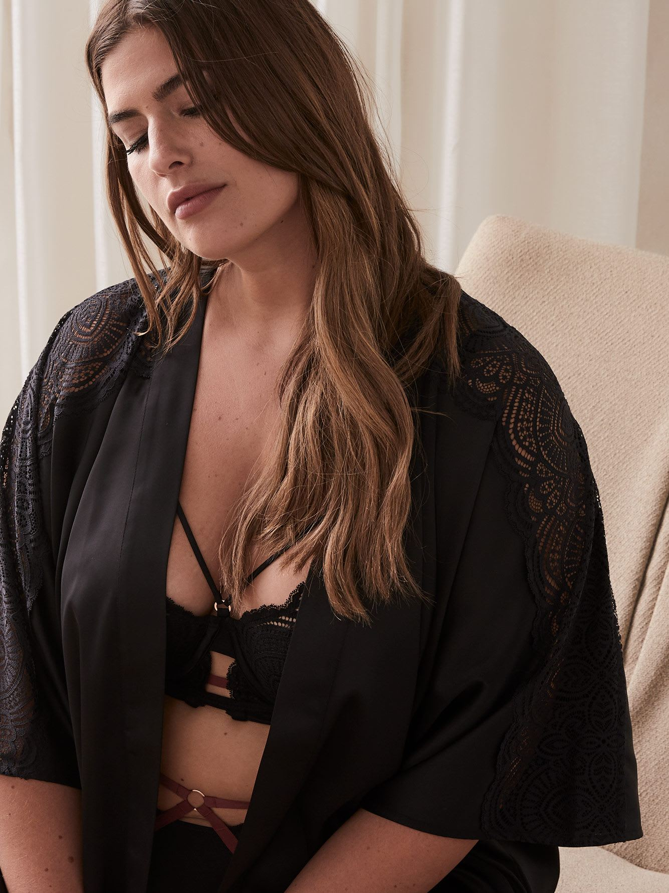 Solid Satin Kimono with Lace Insert - Ashley Graham