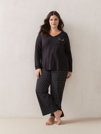 Cotton PJ Set With Straight-Leg Pants - ti Voglio