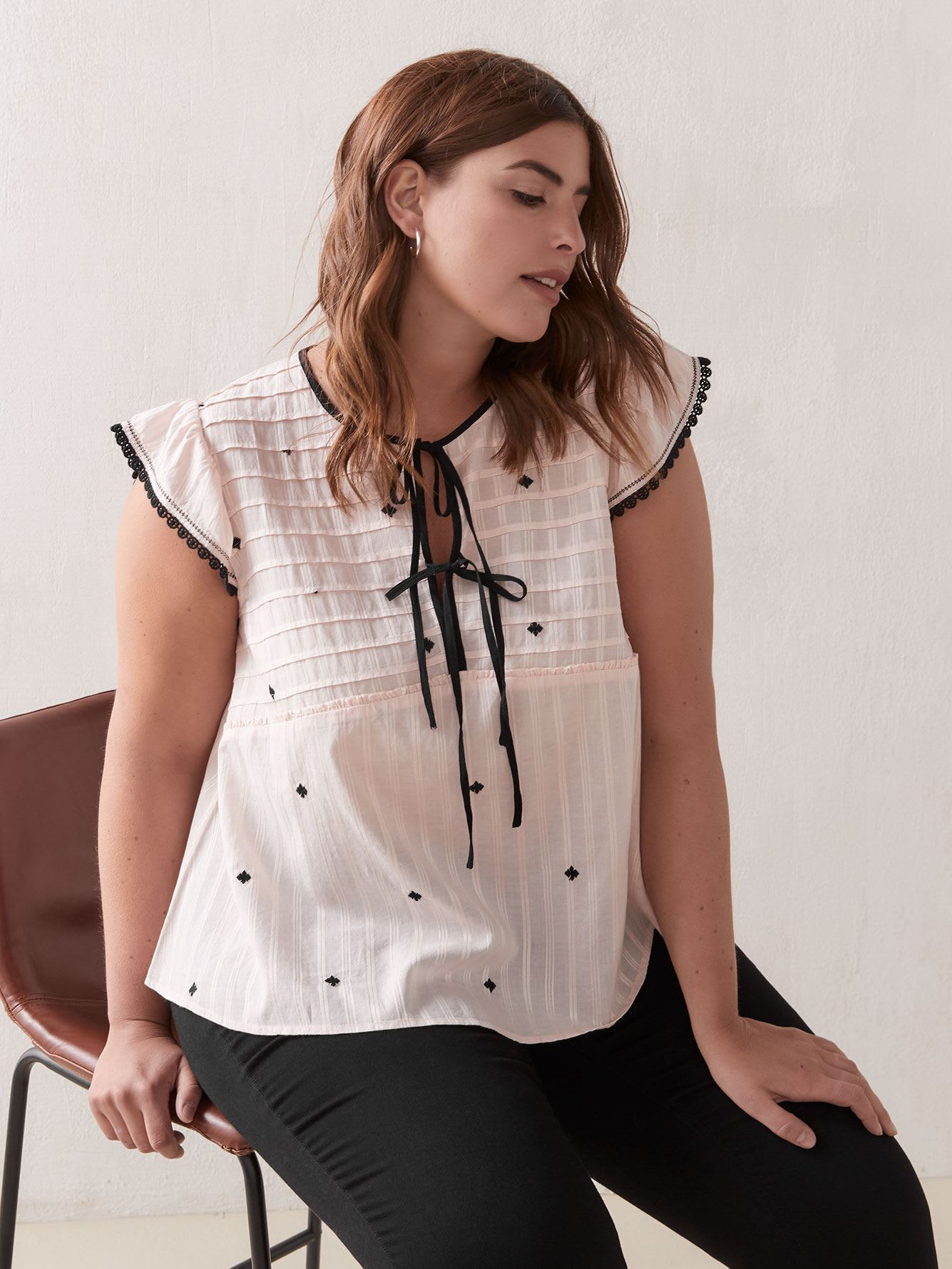 Embroidered Tie-Front Blouse - Addition Elle