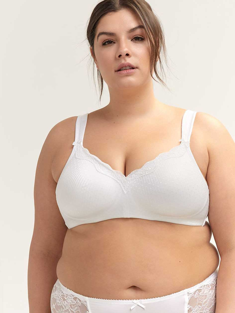 Jacquard Padded Wirefree Bra with Lace - ti Voglio