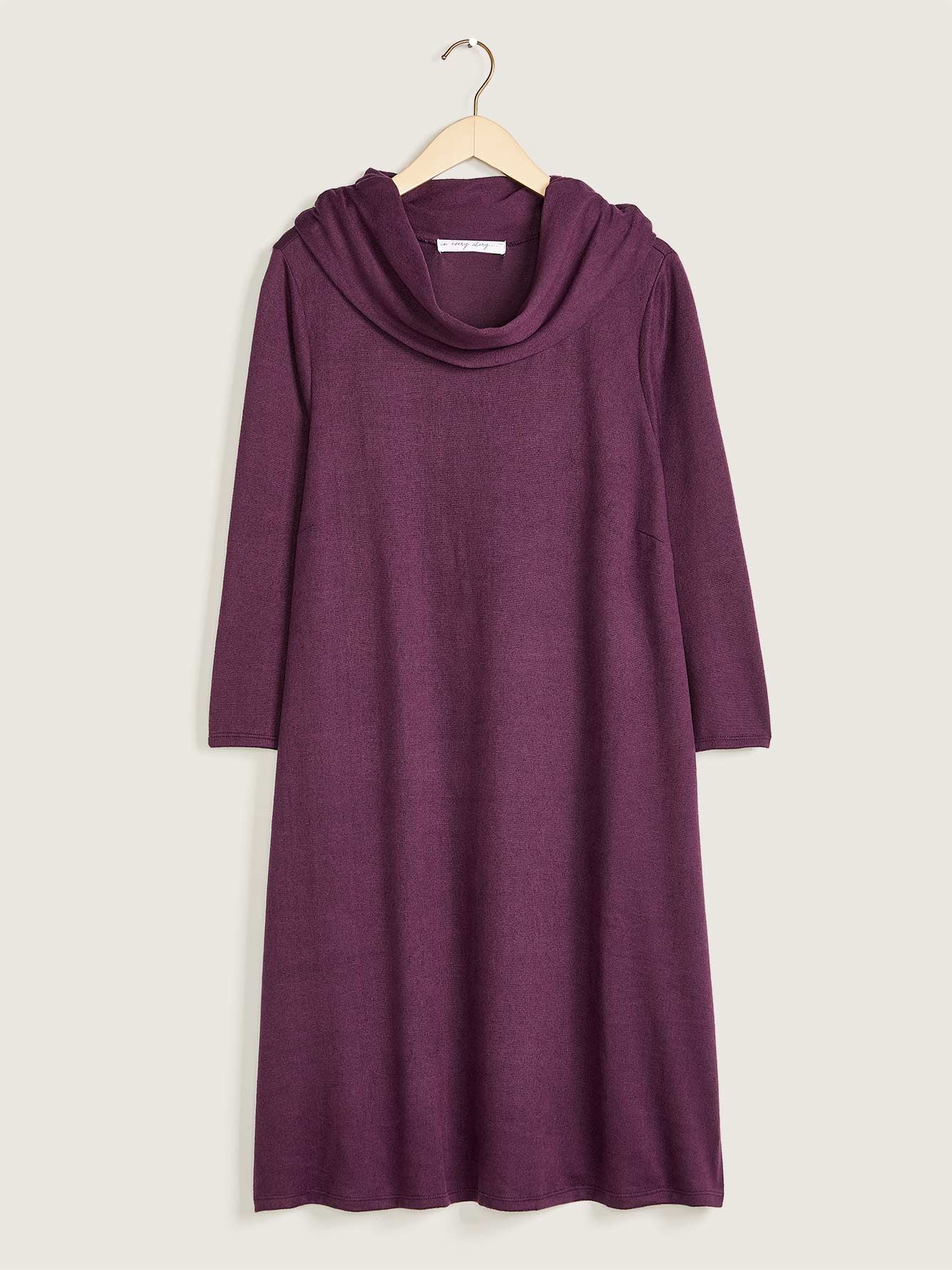 3/4 Sleeve Dress With Fold Over Collar, Solid Colour - Addition Elle