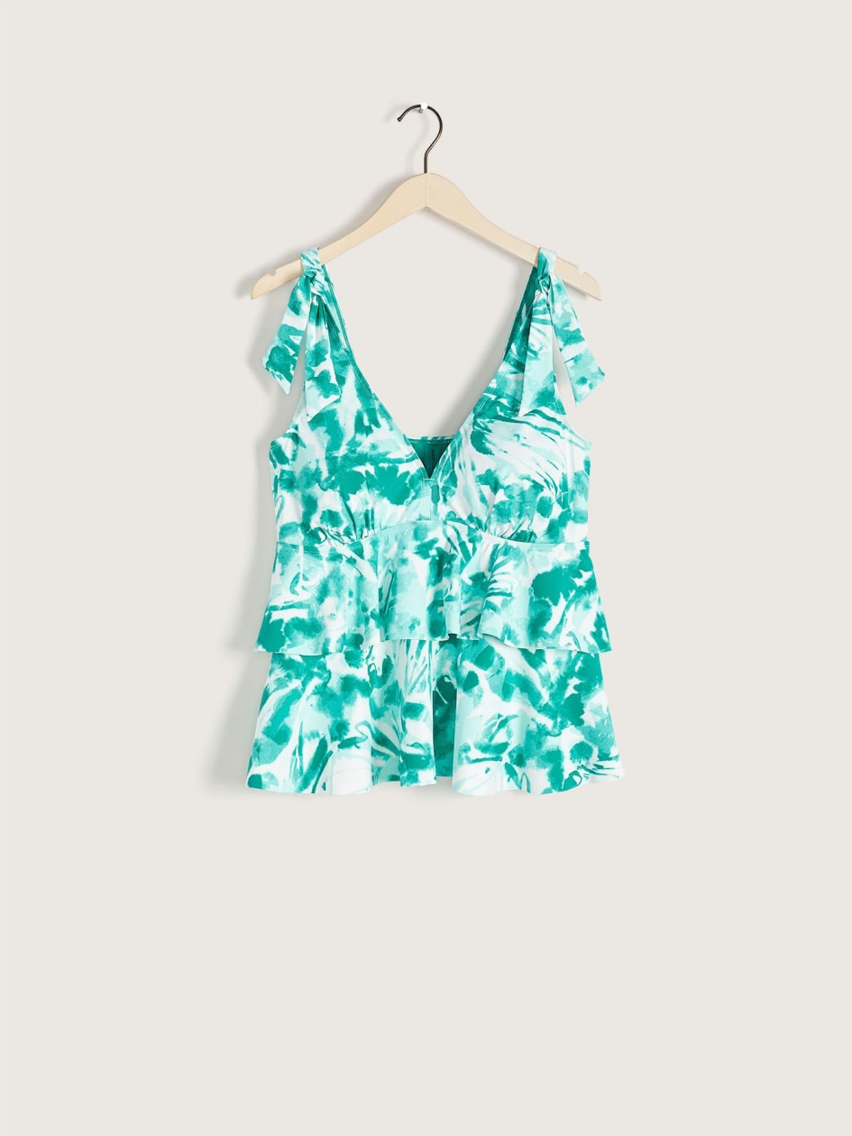 Printed Ruffled Tankini Top - Addition Elle