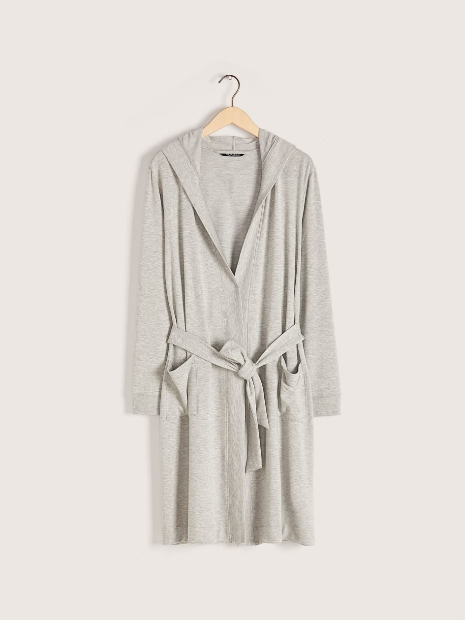 French Terry Hooded Lounge Robe - Addition Elle