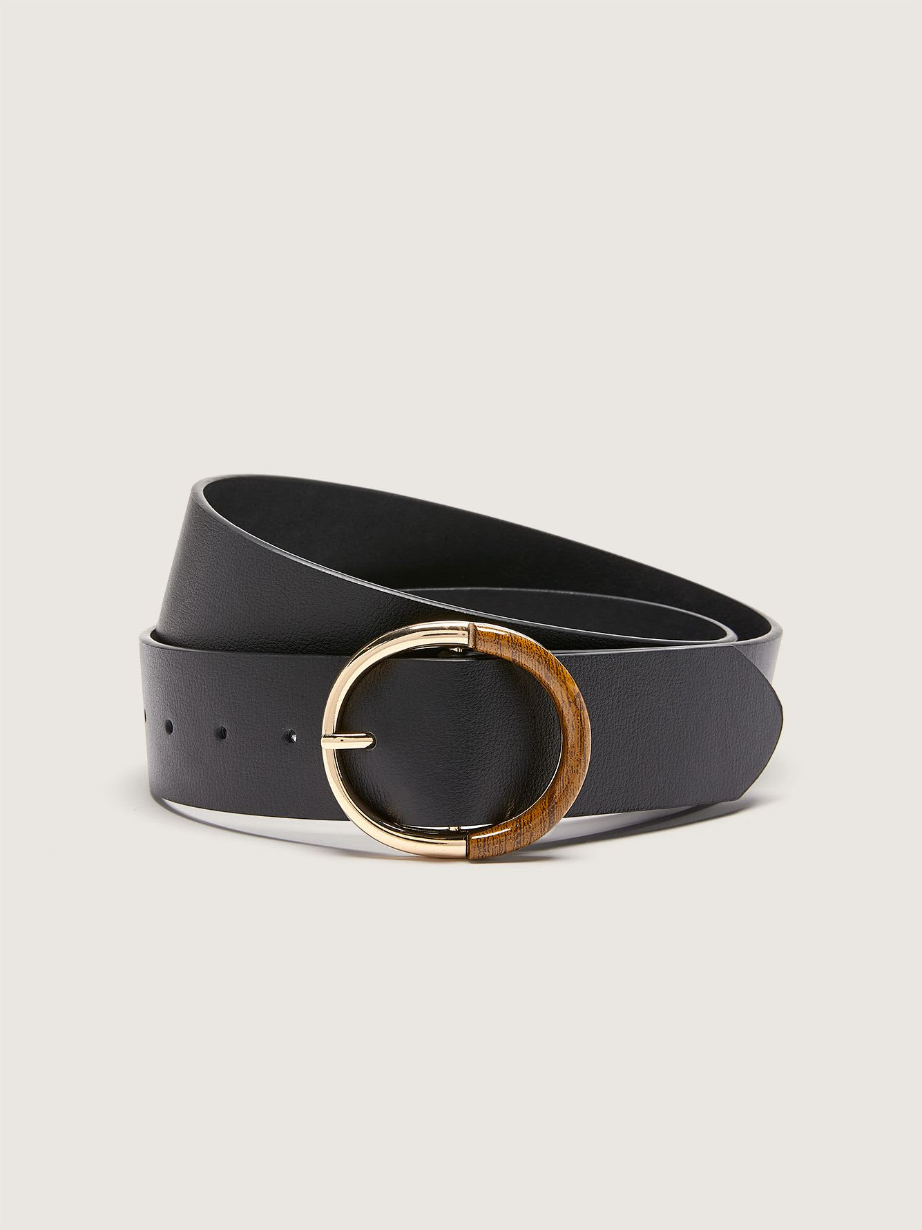 Leather Belt with Tortoise Metallic Buckle - Addition Elle