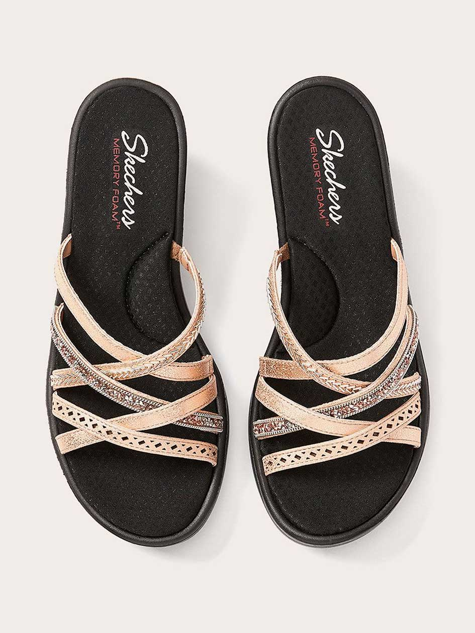 Cross Strap Sandals with Rhinestones - Skechers
