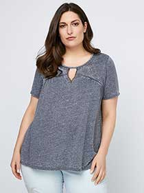 Knit Top with Front Keyhole - d/C JEANS