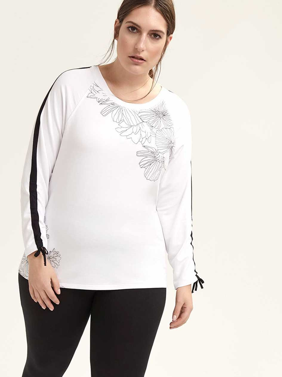 Printed Long Sleeve T-shirt with Ruching - ActiveZone
