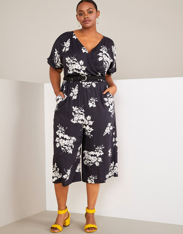 Floral Crossover Jumpsuit with Heeled Sandals