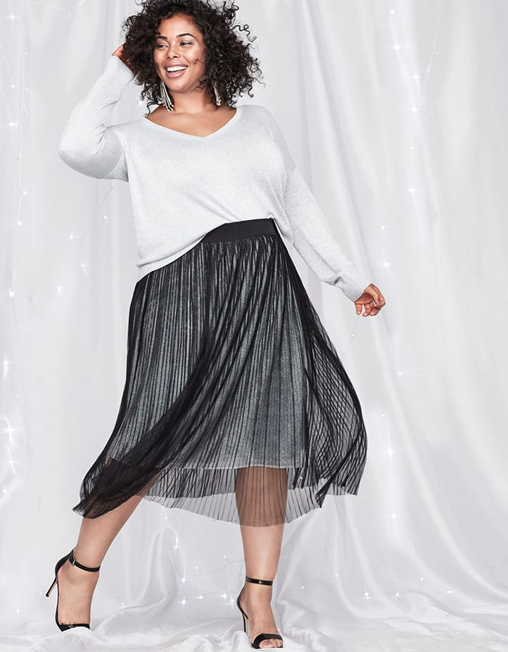 Long Sleeve Sparkle Sweater with Pleated Mesh Skit