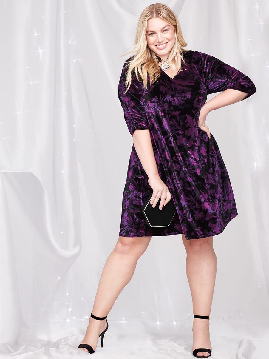 Printed 3/4 Sleeve Velvet Swing Dress
