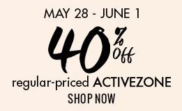 40% off all regular-priced ActiveZone
