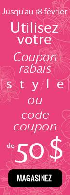 Utilisez votre code coupon ou code promo de 50 $